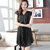 【麗質達人中大碼】788修身顯瘦玫瑰袖連衣裙(黑色)預購