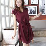 【麗質達人中大碼】788修身顯瘦玫瑰袖連衣裙(紅色)預購
