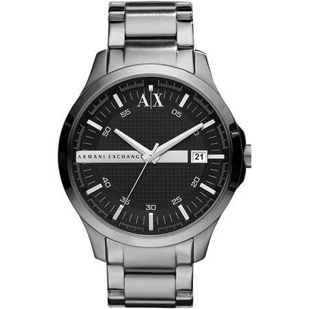 A│X Armani Exchange 雅痞時尚風格鋼帶腕錶-黑/銀 AX2103