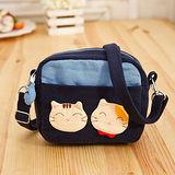 【貝斯貓】(ABS)側揹包*斜背包*拼布包*相機袋(藍色88-181)