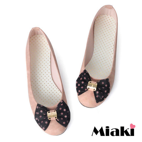 ^(  ^)~Miaki~MIT 韓劇風圓點蝴蝶平底娃娃鞋包鞋 ^(粉色^)