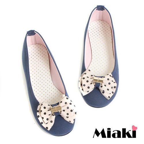 ^(  ^)~Miaki~MIT 韓劇風圓點蝴蝶平底娃娃鞋包鞋 ^(藍色^)