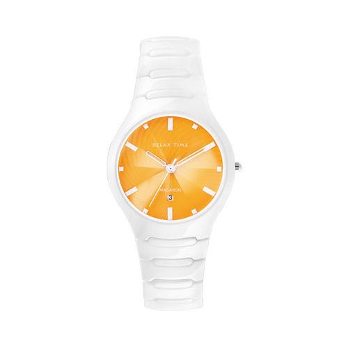 Relax Time 馬卡龍系列陶瓷腕錶-白/橙 RT-26-19