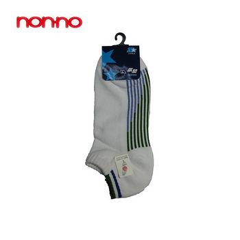 NON-NO直條底氣墊船型襪-白(22~24cm)