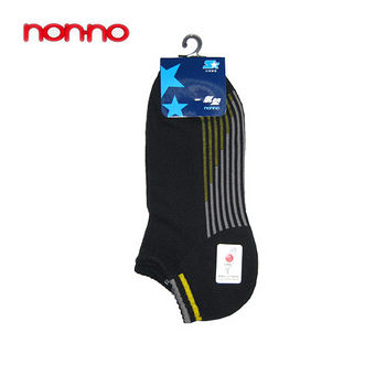 NON-NO直條底氣墊船型襪-黑(22~24cm)