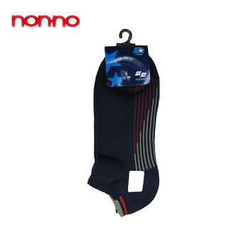 NON-NO直條底氣墊船型襪-丈青(22~24cm)