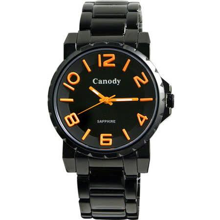 Canody 黑潮時尚彩色數字腕錶(橘針) GM2592-G