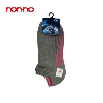 NON-NO直條底氣墊船型襪-灰
