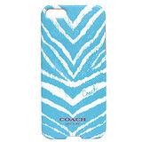 COACH 斑馬紋iPhone5手機保護殼(水藍)