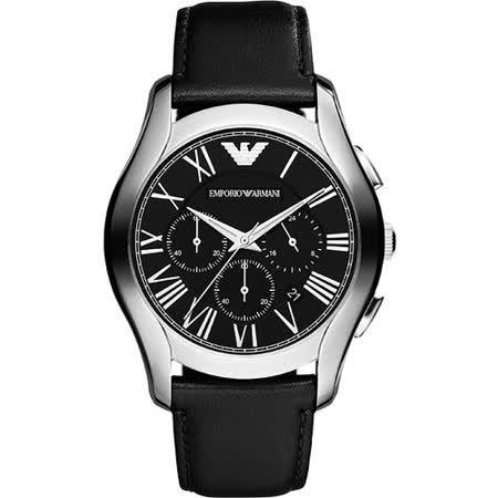 ARMANI 羅馬時尚三眼計時腕錶-黑 AR1700