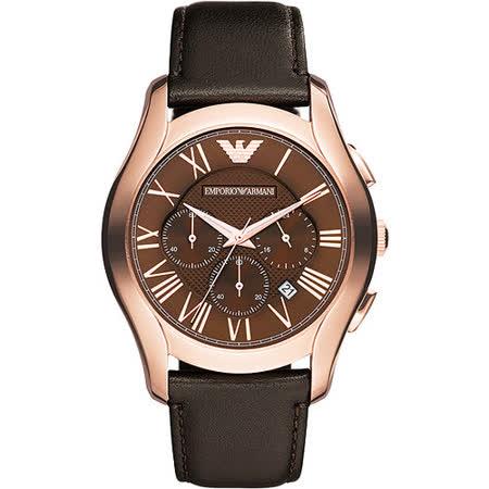 ARMANI 羅馬時尚三眼計時腕錶-咖啡/44mm AR1701