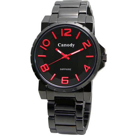 Canody 黑潮時尚彩色數字腕錶(紅針) GM2592-D
