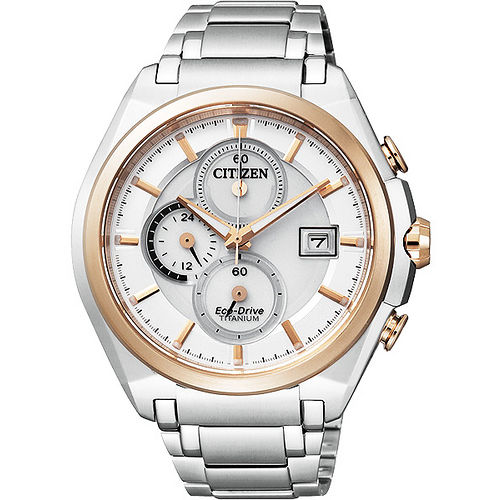 CITIZEN Eco~Drive 超級~鈦~計時腕錶~銀雙色版 CA0356~55A