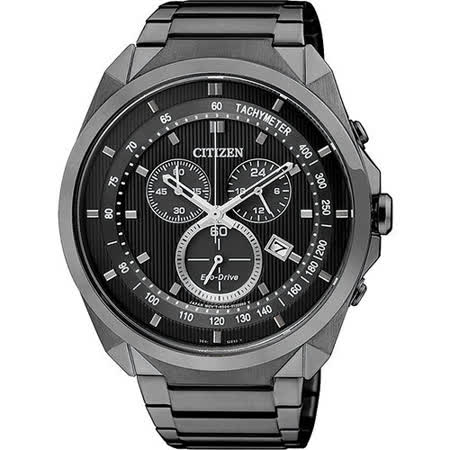 CITIZEN Eco-Drive METAL 專屬型男計時腕錶-IP黑 AT2155-58E