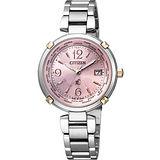 CITIZEN xC 馨?之旅【鈦】電波腕錶-粉紅/銀 EC1044-55W