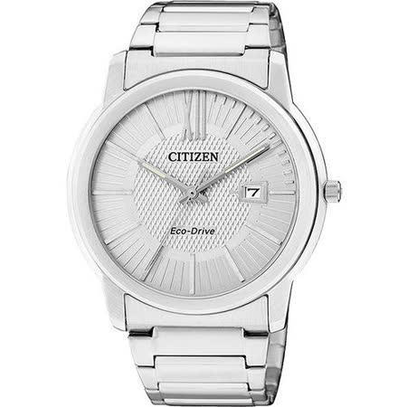 CITIZEN Eco-Drive 時尚都會大三針腕錶-銀 AW1210-58A