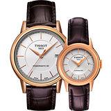 TISSOT Carson Powermatic 80 經典機械對錶-銀x玫塊金框/咖啡 T0854073601100+T0852073601100