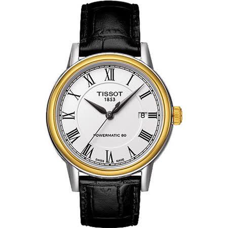 TISSOT Carson Powermatic 80 羅馬機械腕錶-銀X金框 T0854072601300