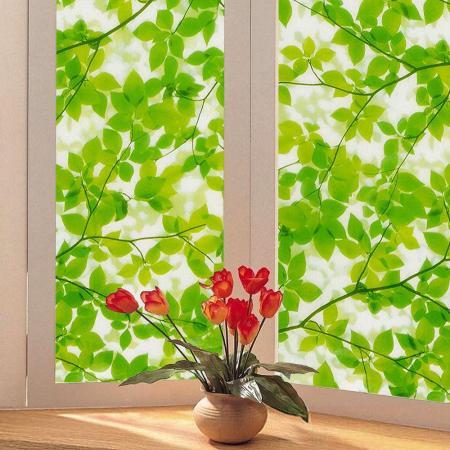 〔日本MEIWA〕抗UV靜電窗貼 (綠葉盈窗) 46x100公分