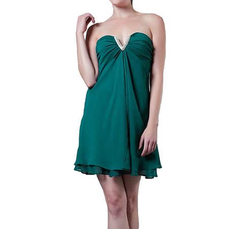 『摩達客』美國進口Landmark無肩帶V口名媛風藍綠色派對小禮服/洋裝(含禮盒/附絲巾)