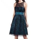 【摩達客】美國進口Landmark薔薇蕾絲藍綠色系浪漫派對小禮服/洋裝(含禮盒/附絲巾)