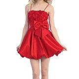 『摩達客』美國進口Landmark平口蝴蝶結泡泡裙紅色派對小禮服/洋裝(含禮盒)