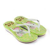HELLO KITTY 俏皮圓點夾腳人字拖鞋 三麗鷗授權正版商品-綠色