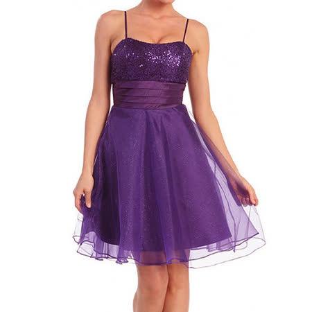 『摩達客』美國進口Landmark細肩帶紫色星閃蓬紗裙派對小禮服/洋裝(含禮盒/附絲巾)