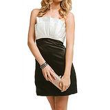 『摩達客』美國進口Landmark無肩帶花朵黑白優雅派對小禮服/洋裝(含禮盒)