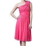 『摩達客』美國進口Landmark斜肩花朵浪漫桃粉派對小禮服/洋裝(含禮盒)