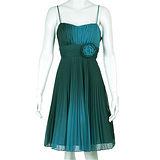 『摩達客』美國進口Landmark細肩帶藍綠漸層浪漫百褶紗裙派對小禮服/洋裝(含禮盒)