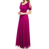 『摩達客』美國進口Landmark U領浪漫紫紅紗裙派對及地齊地長禮服/洋裝(含禮盒)