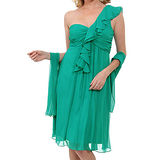 『摩達客』美國進口Landmark單邊荷葉袖浪漫紗裙翠綠派對小禮服/洋裝(含禮盒/附絲巾)