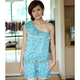 【ZARA】單斜肩蕾絲荷葉花花圖案連身褲裙(藍)