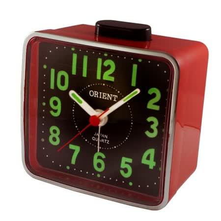 日本東方ORIENT簡約方型夜光鬧鐘TI-024-紅黑