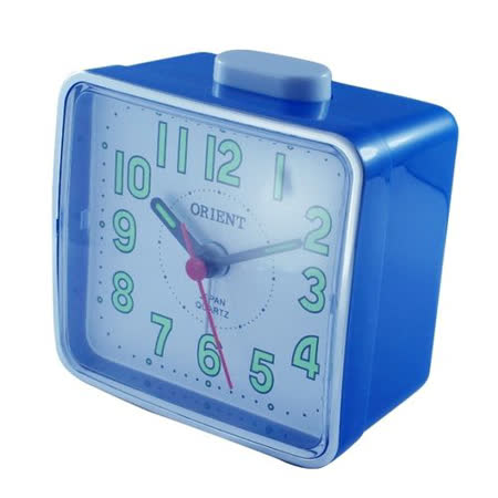 日本東方ORIENT簡約方型夜光鬧鐘TI-024-藍白