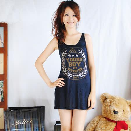 【ZARA】質感無袖圖騰圖案長版連身裙(深藍)