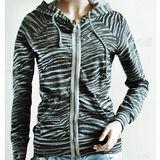 【ZARA】TRF實搭休閒斑馬紋棉質連帽外套(灰)