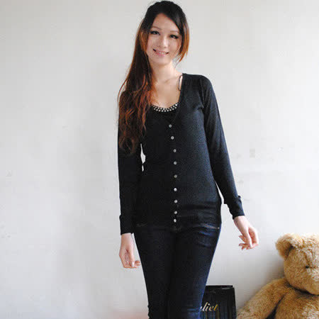 【ZARA】TRF時尚VIVI質感亮蔥排扣針織外套(黑)