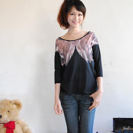 【ZARA】簡約款羽毛圖案七分袖個性棉T(黑)