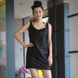 【ZARA】新品 氣質蕾絲花紋連身裙(黑)