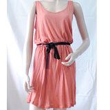 【ZARA】簡約風無袖附綁帶棉質連身洋裝(橘)
