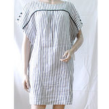 【ZARA】一字領排釦寬袖線條長版連身裙(白)