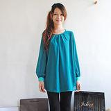 【H&M】高雅質感雪紡雙色袖扣長版襯衫(綠)