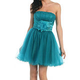 【摩達客】美國進口Landmark 英式浪漫藍綠多層篷紗裙派對小禮服/洋裝(含禮盒/附絲巾)