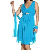 【摩達客】美國進口Landmark 皇家V領浪漫優雅藍色及膝紗裙派對小禮服/洋裝(含禮盒/附絲巾)