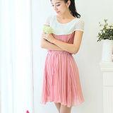【麗質達人中大碼】3110皺摺雪紡連衣裙(粉色)-預