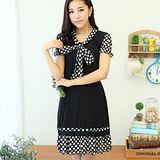 【麗質達人中大碼】1329圓點雪紡拼接連衣裙(黑色)-預