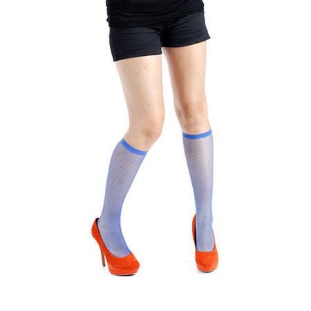 英國進口義大利製【Pamela Mann】藍色細格紋及膝高筒襪