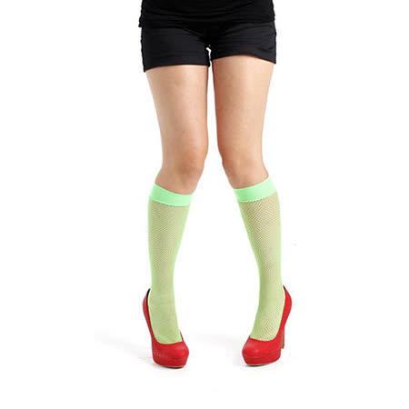 英國進口義大利製【Pamela Mann】螢光綠細格紋及膝高筒襪
